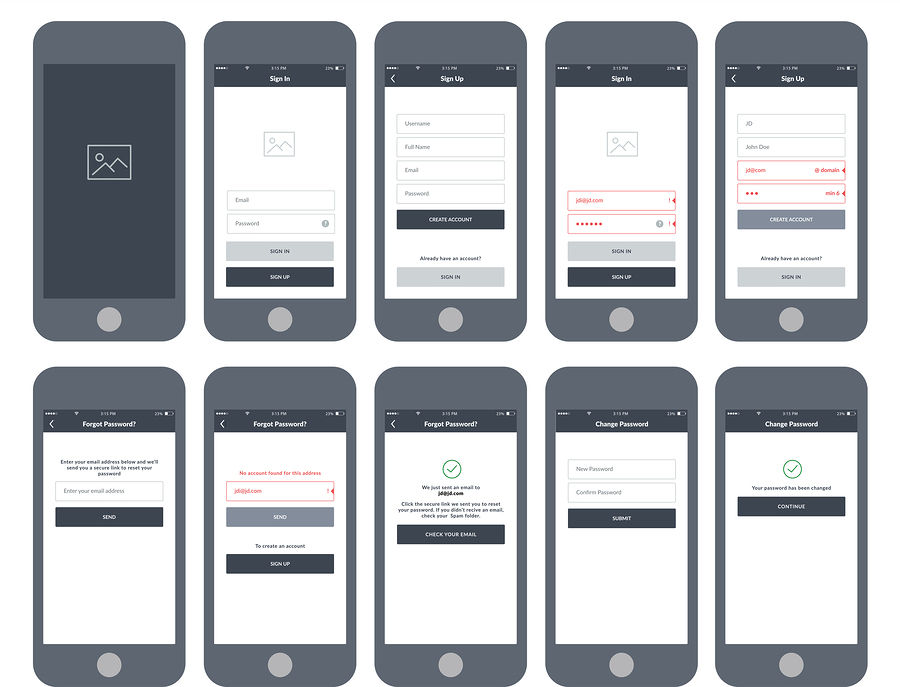 App Wireframe Design Examples