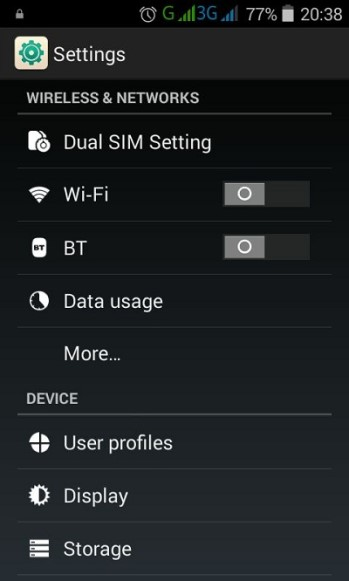 Android Gingerbread Settings