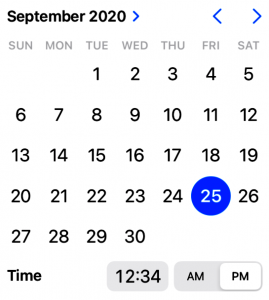 iOS 14 Calendar Date Picker