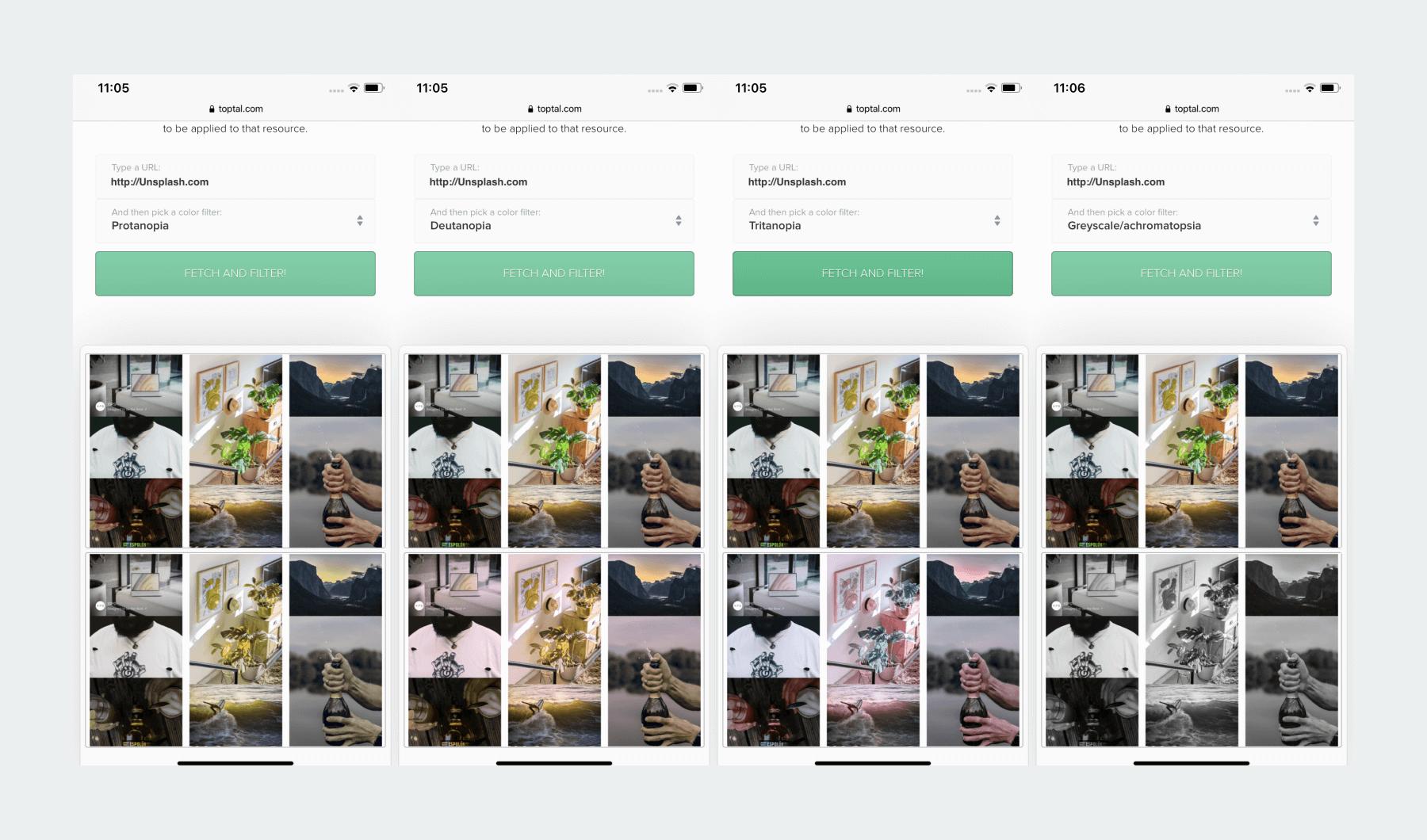 Color Blindness website filter, example